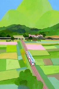 Big green mountain and rice field by Hiroyuki Izutsu