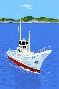 Fishing boat and harbor by Hiroyuki Izutsu