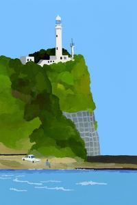 Lighthouse, car and fishing by Hiroyuki Izutsu