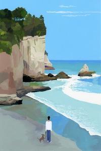 Peaceful coast with waves and cliffs by Hiroyuki Izutsu