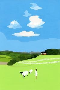 Prairie and sheep by Hiroyuki Izutsu
