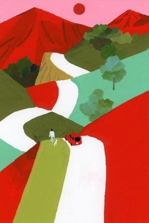 Red mountain path by Hiroyuki Izutsu