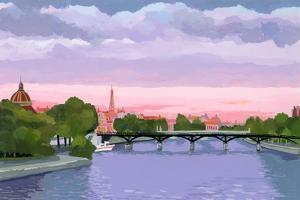Sunset in Paris, the Seine river by Hiroyuki Izutsu