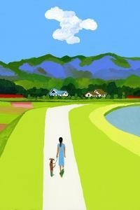 The Blue Mountains and the Woman Walking with the Dog by Hiroyuki Izutsu