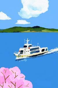 Tourist boat and cherry blossom by Hiroyuki Izutsu