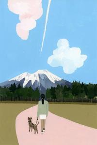 Walk with dog and airplane cloud by Hiroyuki Izutsu