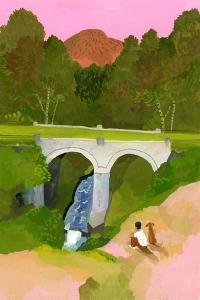 Watch the bridge with one's dog at dusk by Hiroyuki Izutsu