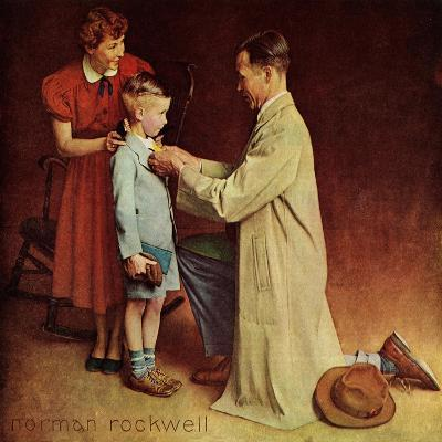 His First Day at School-Norman Rockwell-Giclee Print