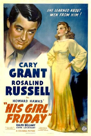 His Girl Friday, Cary Grant, Rosalind Russell, 1940--Art Print