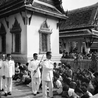 His Majesty King Bhumibol Adulyadej Blessing the Crowd at the Emerald Temple Temple, 1978--Photographic Print