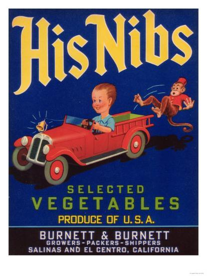 His Nibs Vegetable Label - Salinas, CA-Lantern Press-Art Print