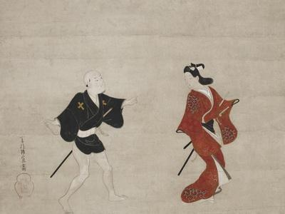Nikuhitsu Ukiyo-E: Young Samurai and a Manservant as Mitate of Huanshigong and Zhang Lian, C. 1690