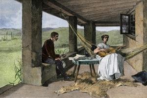 Hispanic Girl Playing Guitar on a Ranch Portico, 1800s