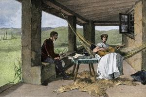 Hispanic Girl Playing Guitar on a Ranch Portico, 1800s