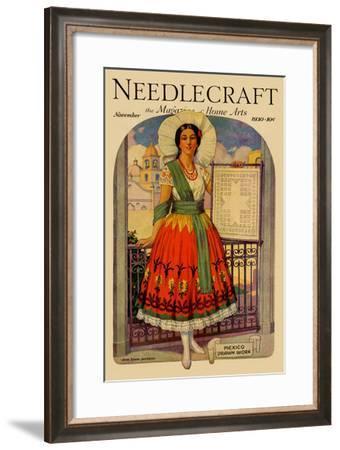 Hispanic Holds Up a Lace Design on a Frame-Needlecraft Magazine-Framed Art Print