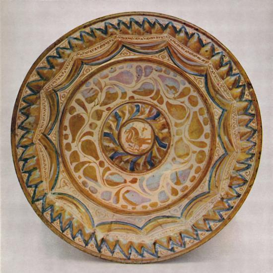 'Hispano-Moresque Lustre Dish with Blue Fish-Scale Border. 15th Century', 1928-Unknown-Giclee Print