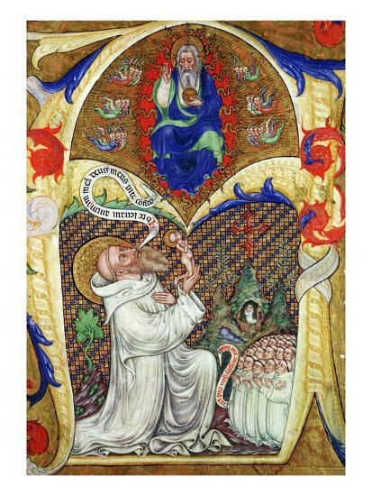 Historiated Initial 'A' Depicting St. Benedict Offering His Soul to God the Father, Lombardy School- Master of the Vitae Imperatorum-Giclee Print