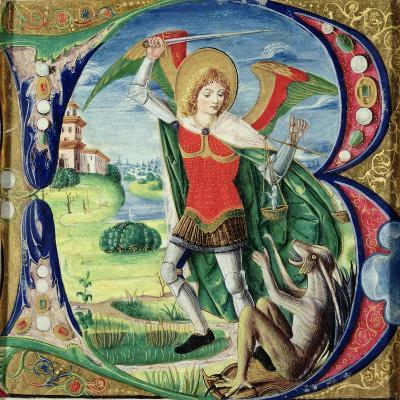 Historiated Initial 'B' Depicting St. Michael and the Dragon, 1499-1511 (Vellum)-Alessandro Pampurino-Giclee Print