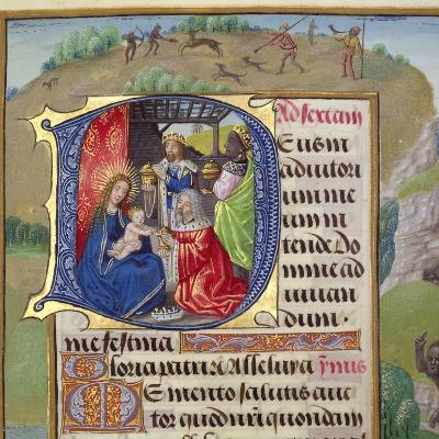 Historiated Initial 'D' Depicting the Adoration of the Kings, from a Books of Hours, Probably…--Giclee Print