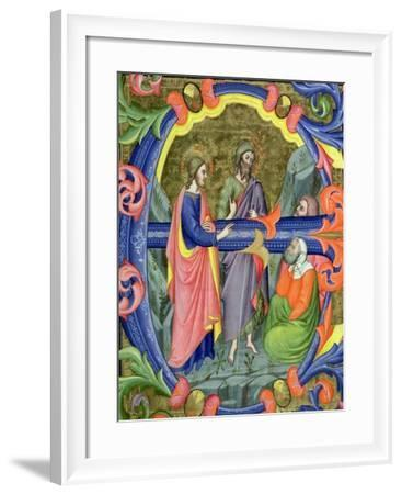 """Historiated Initial """"E"""" Depicting St. John the Baptist-Don Simone Camaldolese-Framed Giclee Print"""