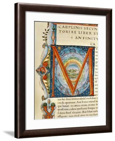 Historiated Initial 'M' Depicting the Heavens and the Signs of the Zodiac--Framed Giclee Print