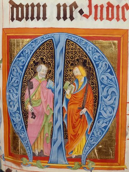 Historiated Initial 'M' with Saints Peter and Paul-German-Giclee Print