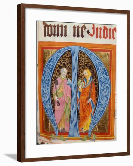 Historiated Initial 'M' with Saints Peter and Paul-German-Framed Giclee Print