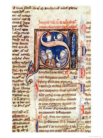 """Historiated Initial """"S"""" Depicting Pope Gregory IX with Bishops and Abbots--Giclee Print"""