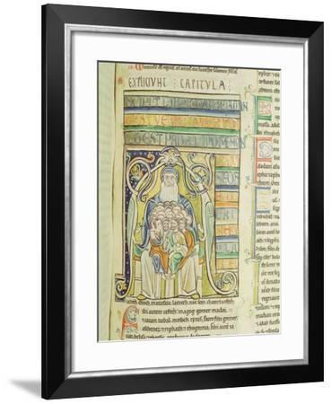 """Historiated Letter """"A"""" of Generations in the Bosom of Abraham, from the Souvigny Bible--Framed Giclee Print"""