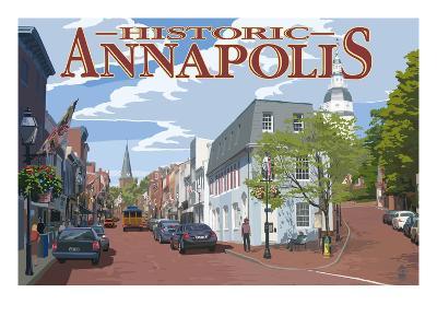 Historic Annapolis, Maryland Street View-Lantern Press-Art Print