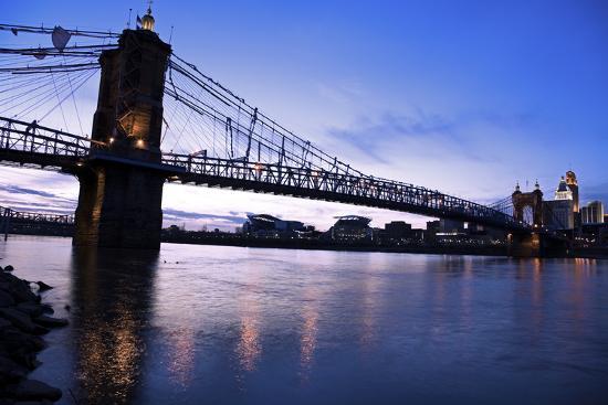 Historic Bridge in Cincinnati-benkrut-Photographic Print