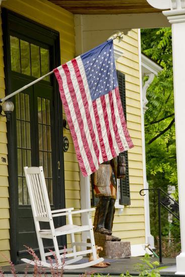Historic Cooperstown House with Flag, Cooperstown, New York, USA-Cindy Miller Hopkins-Photographic Print