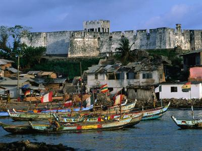 Historic Fort Metal Cross Overlooks the Harbour of Dixcove, Western, Ghana-Ariadne Van Zandbergen-Photographic Print