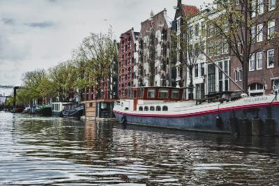 Historic Houses and Boats Along a Canal, Netherlands-Sheila Haddad-Photographic Print