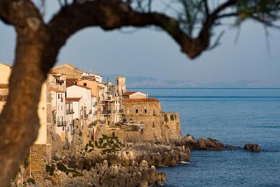 Historic Houses on the Rocky Coastline of Cefalu, Sicily, Italy, Mediterranean, Europe-Martin Child-Photographic Print