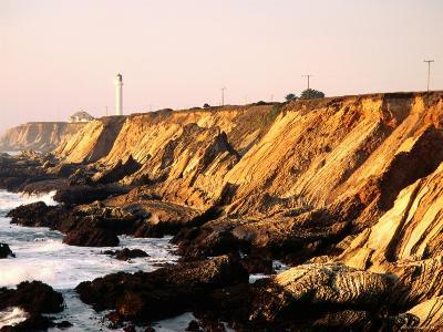 Historic Lighthouse on Coastal Cliffs, Point Arena, California-John Elk III-Photographic Print
