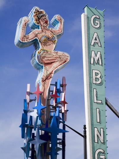 Historic Lucky Lady Neon Sign on Fremont Street, Las Vegas, Nevada-Richard Cummins-Photographic Print