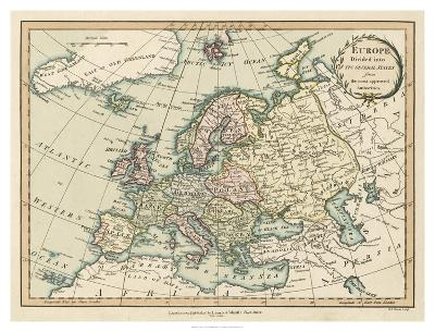 Historic Map of Europe-Laurie & White-Giclee Print