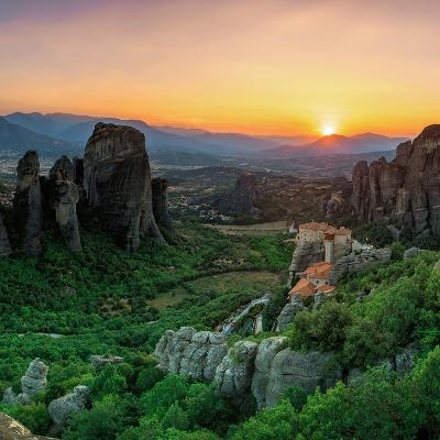 Historic Monasteries Built into Sandstone Pillars Overlook a Valley-Babak Tafreshi-Photographic Print