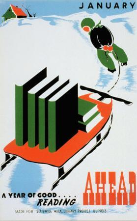 Historic Reading Posters - January, A Year of Good Reading Ahead