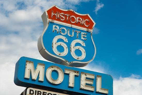 Historic Route 66 Motel Sign In California-flippo-Art Print