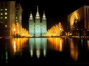 Historic Temple and Square in Salt Lake City at night, during 2002 Winter Olympics, UT