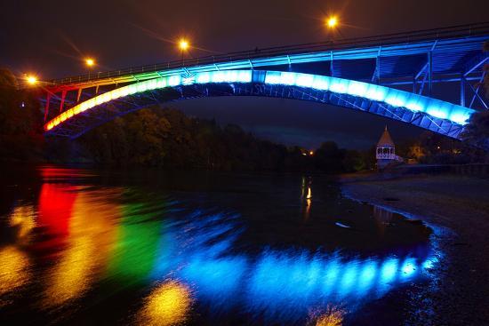 Historic Victoria Bridge at Night, Waikato River, Hamilton, Waikato, North Island, New Zealand-David Wall-Photographic Print