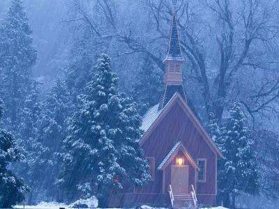 Historic Yosemite Valley Chapel During Heavy Snowfall in Yosemite National Park, California, USA-Chuck Haney-Photographic Print