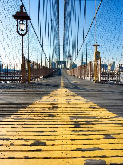 Historical Landmark of Brooklyn Bridge in New York City, New York--Photographic Print
