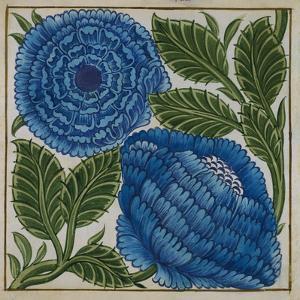 Large Blue Flower Watercolor Tile Design by William De Morgan by Historical Picture Archive