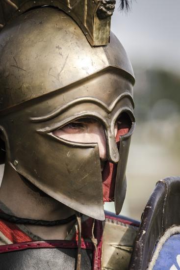 Historical Reenactment: Ancient Greek Warrior Wearing Corinthian Helmet--Photographic Print