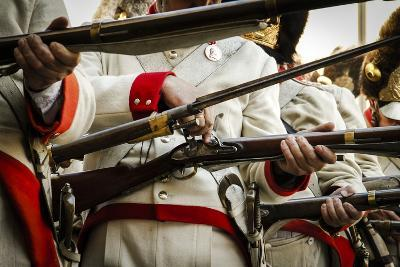 Historical Reenactment: Austrian Imperial Soldiers Loading Muzzle-Loading Flintlock Rifles--Photographic Print