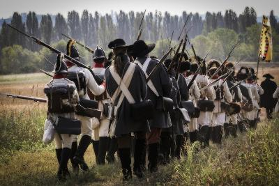 Historical Reenactment: Austrian Imperial Soldiers Marching in the Venetian Countryside--Photographic Print