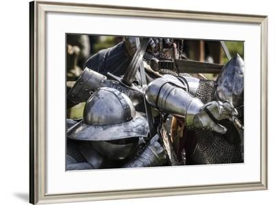 Historical Reenactment: Battle Between Infantry and Cavalrymen in Armour, 14th Century--Framed Giclee Print